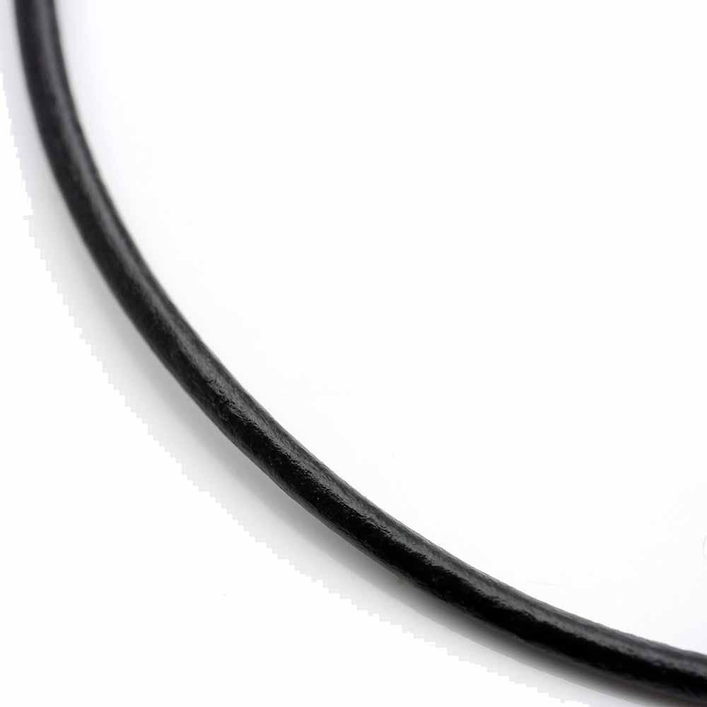 ko 簡単ワンプッシュ 本革レザー チョーカー 革紐 メンズ 3mm 黒 [40cm 45cm 50cm 55cm 60cm] ネックレス ブラック プッシュ式 インディアンジュエリー 皮紐 皮ひも 革ひも バイカーズ 首輪