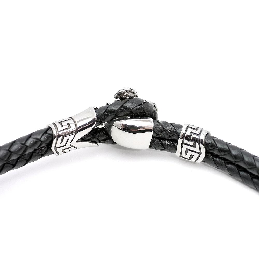 黒レザー ダブル クロス チョーカー 革紐 メンズ ho [フロントフック ブラック][幅10mm 長さ45cm] (ステンレス 首輪 ネックレス 2連 本革 ロック バイカーズ)