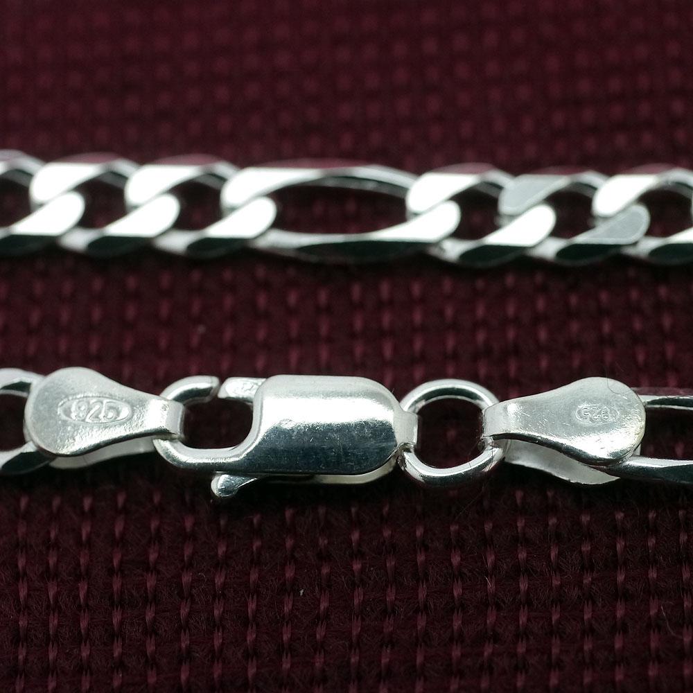 イタリア製 シルバー925 フィガロ チェーン ネックレス メンズ bo [銀色 幅5mm 厚1.5mm 長45cm50cm60cm] (ITALY イタリー HIP HOP ヒップホップ) イタリアン シルバーアクセサリー
