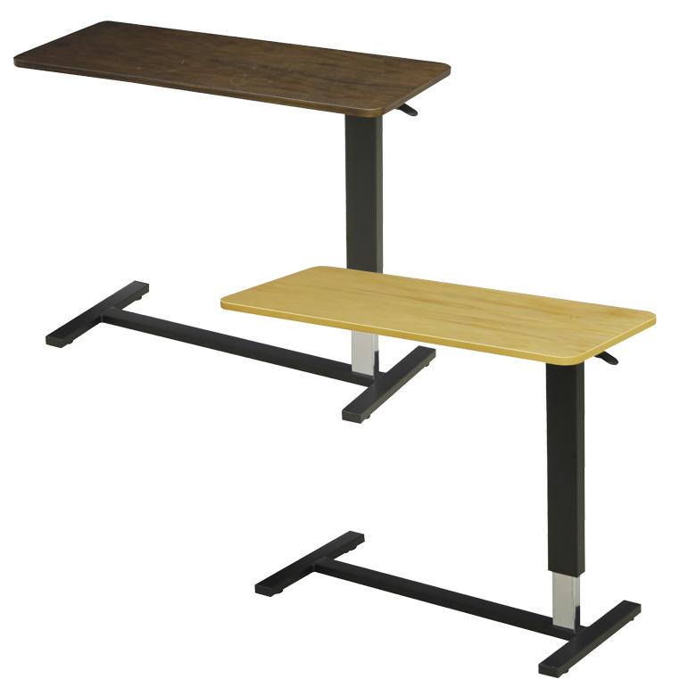 昇降テーブル 幅98cm サイドテーブル ベッド用テーブル ベッドテーブル 介護ベッド用 高さ調整可能 選べる2色 キャスター付き ライトブラウン ダークブラウン