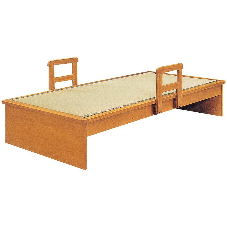 畳ベッド 手すり 2本付き シングル フラット ヘッド無し たたみベッド 国産 畳 シングルベッド タモ 木製ベッド フレームのみ 木製 通気性 調湿 ベッドフレーム ベッド ベット ブラウン 手すり付き 立ち上がり 支え