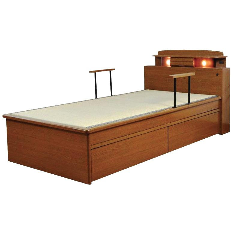 [ エントリーでP14倍! ] 畳ベッド 宮付き 手すり 2本付き シングル たたみベッド 国産品 畳 ライト付 コンセント付 シングルベッド 小引出し BOX 引出し 2杯 木製ベッド シンプル フレームのみ 木製 ベッドフレーム ベッド ベット ブラウン 手すり付き 立ち上がり