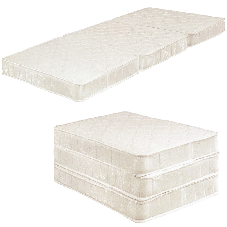 ボンネルコイル マットレス 3つ折り 三つ折り 折りたたみ ボンネルコイルマットレス 厚み 13cm シングルサイズ シングル ファブリック ホワイト 白 布製 寝具 ベッド シングルマット ボンネルマット Sマット 買い替え 省スペース