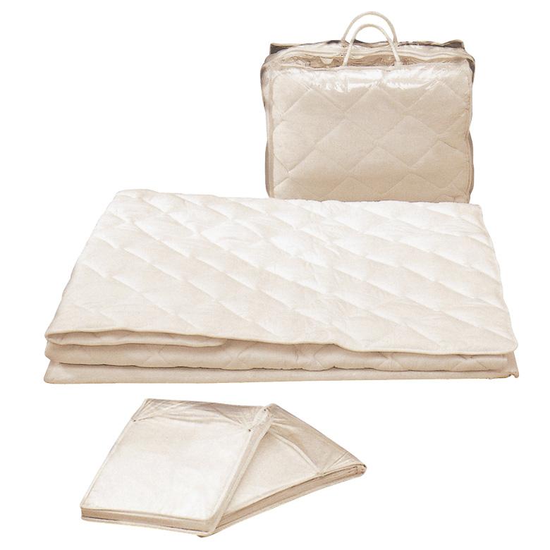 寝装 3点パック ベッドパッド ボックスシーツ 2枚 3点パック 2枚組シーツ ダブル ファブリック 綿 天然高級綿 布製 シンプル 寝具 ベッド ダブルサイズ ダブルパット 新生活 引っ越し 収納袋付 収納