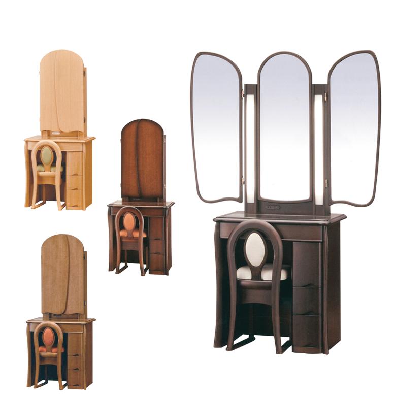 ドレッサー デスク 三面鏡 三面鏡ドレッサー 椅子 スリム ミラー 鏡 おしゃれ コンパクト 三面ドレッサー チェア付き 鏡台 引き出し付き 収納付き 引き出し 椅子付き スツール付き ブラウン ナチュラル アンティーク