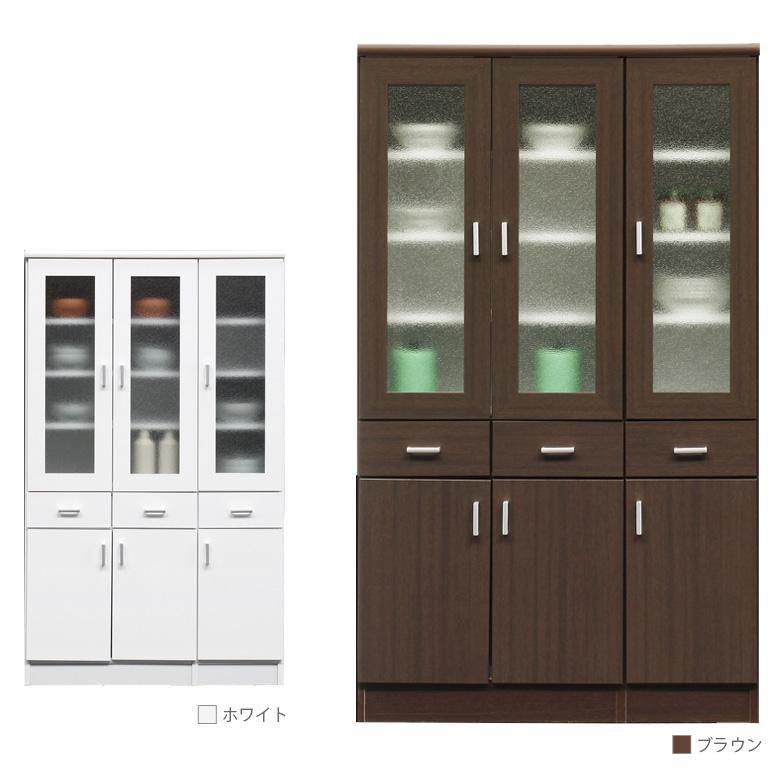 開梱設置無料 キッチン収納 幅90cm 食器棚 選べる2色 カップボード キッチンボード キャビネット キッチンキャビ ダイニングボード おしゃれ 北欧 開き戸収納 ホワイト 白 ブラウン 木製 木製収納