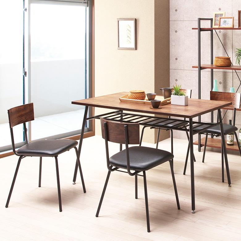 ダイニングテーブルセット 6人掛け アイアン ダイニングセット 5点セット テーブル 幅120cm 6人用 スチール パイプ ヴィンテージ 食卓 食卓セット 木製 ブラック ブラウン チェア 座面PVC 合成皮革 合成レザー