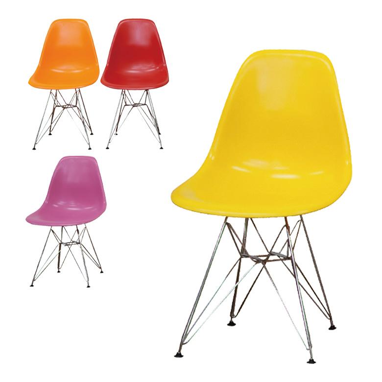 イームズチェア イエロー スチール脚 おしゃれ チェア イームズチェアー スチール アイアン アイアンチェア パーソナルチェア チェアー 椅子 いす オレンジ レッド ピンク 送料無料