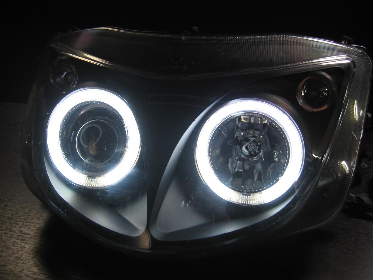 マジェスティCCFLiイカリングヘッドライトリング付プロジェクター■インナーつや消しブラック00-05