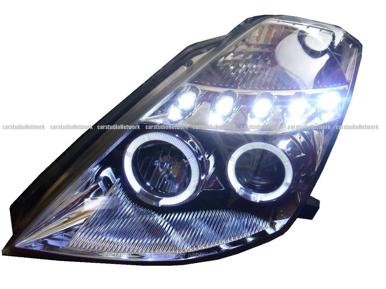 フェアレディZ33イカリングヘッドライトリング付プロジェクターインナークローム2003~