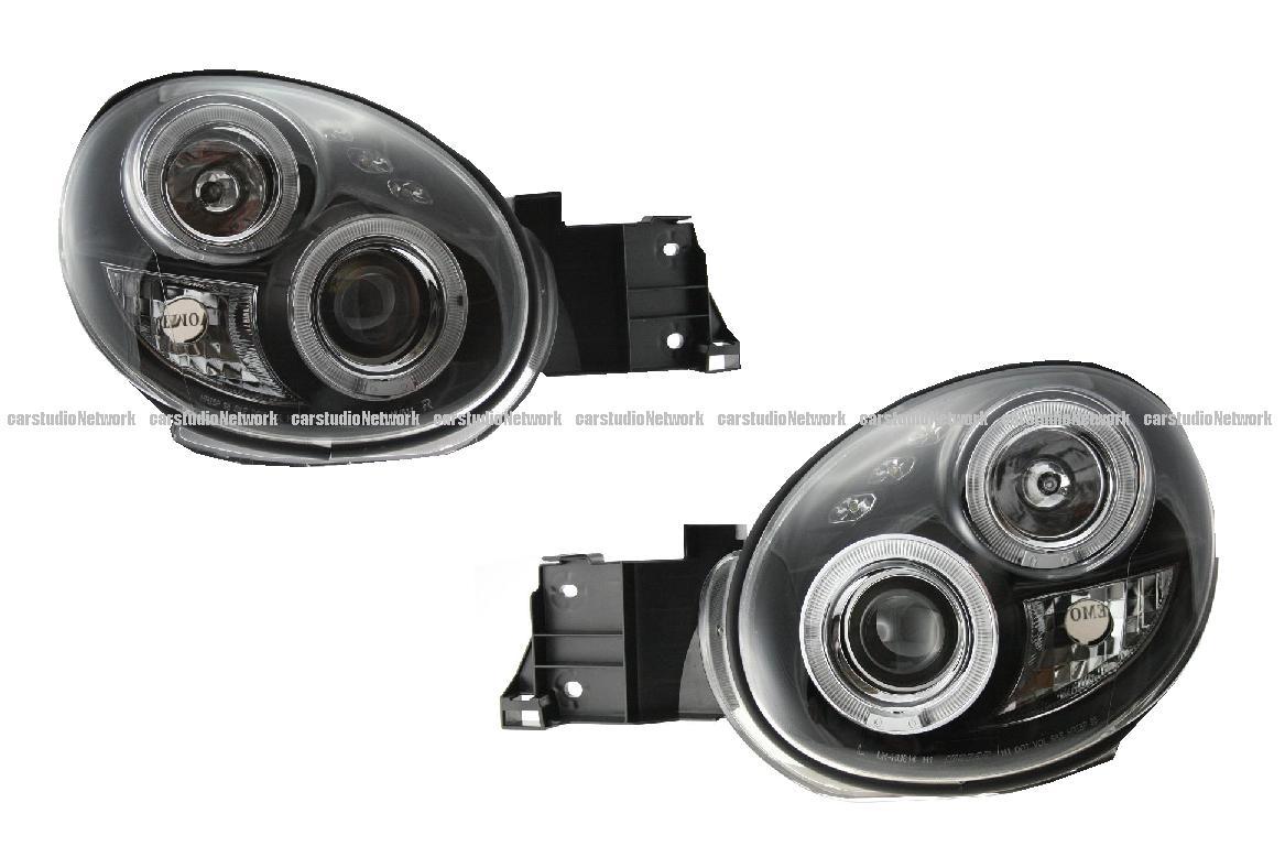 GDA GDB系 インプレッサ用イカリングヘッドライトリング付プロジェクターインナーつや消しブラック丸目