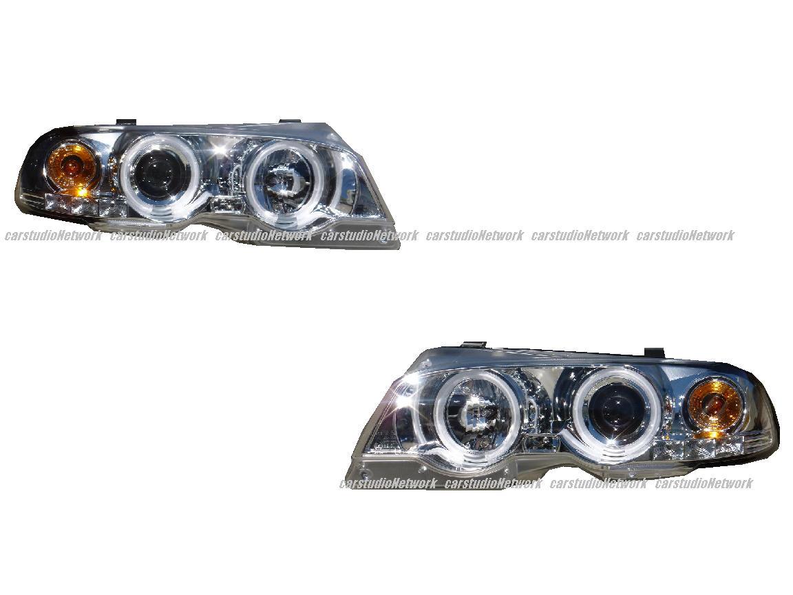 BMW E46 2ドア用98-02CCFLイカリングヘッドライトクロームメッキ 輸入車