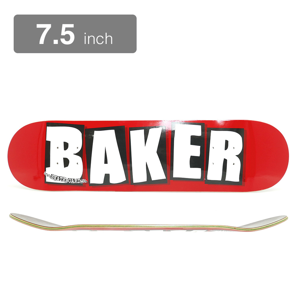 BAKER DECK ベイカー デッキ TEAM BRAND LOGO RED/WHITE 7.5 スケートボード スケボー SKATEBOARD