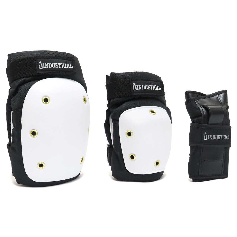 子供用 キッズサイズあり INDUSTRIAL PAD 春の新作 SET スケートボード パッドセット インダストリアル 上質 3IN1 スケボー
