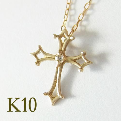 K10 ゴールド アンティーククロス ネックレスAntuless・アンタレスK10 ゴールド クロス 十字架 プレゼント