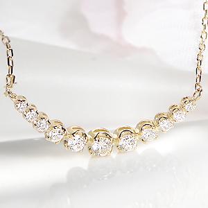 【あす楽対応】K18YG【0.3ct】ダイヤモンド ライン ネックレス ペンダント【送料無料】可愛い グラデーション ダイヤ ネックレス 人気 おしゃれ ギフト プレゼント 贈り物 記念 18k