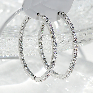K18WG 【1.0ct】ダイヤモンド中折れフープピアス【27mm】/ 送料無料 品質保証書 フープ 18k 18金 ホワイトゴールド ダイヤピアス ダイアモンド ピアス レディース ギフト プレゼント diamond pierced earrings