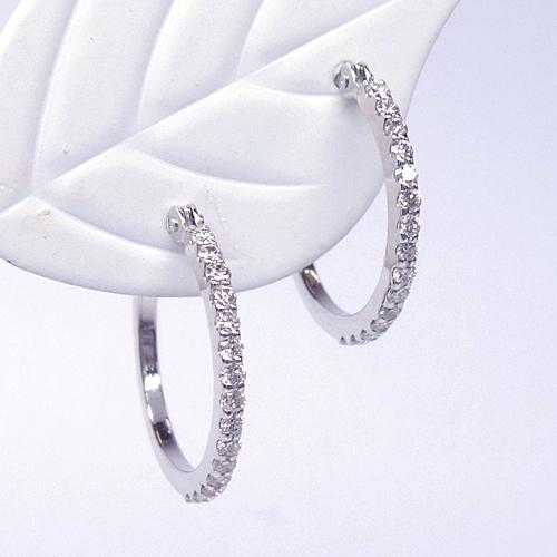 K18 ダイヤモンド フープピアス 15mm【ハーフエタニティー】Curf・カーフ【送料無料】