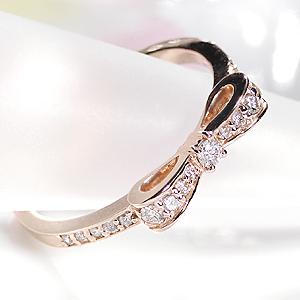 【あす楽対応】K18PG ダイヤモンド ハッピー リボン リング【0.2ct】/【送料無料】【代引手数料無料】【品質保証書】【刻印無料】ダイヤ リング 指輪 レディース ジュエリー ダイア ピンクゴールド りぼん プレゼント ギフト02P01Mar15
