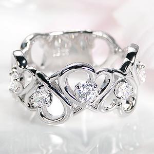 pt900 オープンハート ダイヤモンド リング【0.5ct】 /おしゃれ 人気 可愛い プラチナ ダイア ダイヤ 0.5カラット sweet 指輪 レディース ジュエリー ハート ギフト プレゼント diamond platinum ring 記念日 スイート