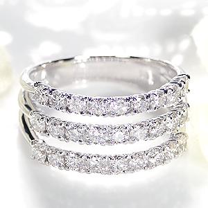 pt900 ダイヤモンド リング【1.3ct】/【送料無料】【代引手数料無料】【刻印無料】【品質保証書】エタニティ ダイヤ リング 指輪 ゴージャス レディース ジュエリー ダイア 三連 重ねづけ diamond ring 婚約指輪 結婚