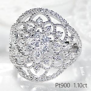 ☆pt900 フラワーモチーフ アンティーク ダイヤモンド リング【1.10ct】/【送料無料】【刻印無料】【代引手数料無料】【品質保証書】花 豪華 透かし プラチナ ダイヤ リング ダイア 指輪 レディース ジュエリー プレゼント diamond platinum ring
