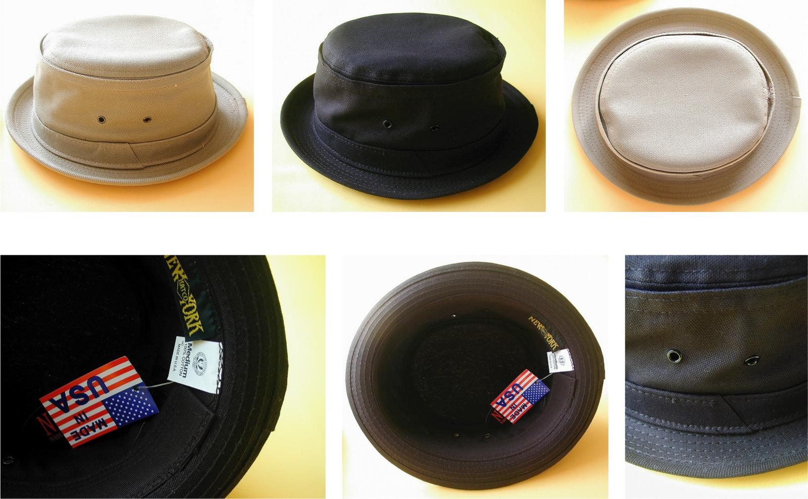 cb394d8956a NEW YORK HAT CO. UNISEX canvas pork pie hat 2color ☆ New York Hat unisex  canvas pork pie hats 2 color