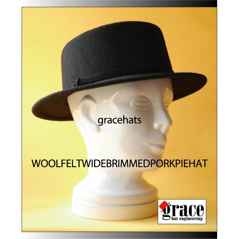f062df33abcd2 UNISEX wool felt wide brimmed pork pie hat unisex woolfeldtuva ☆ Guangzhou  pork pie hats
