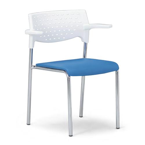 会議用チェア4脚セット パイプ椅子 クロームメッキ脚 肘掛付き 【個人宅不可】 MC-212WG