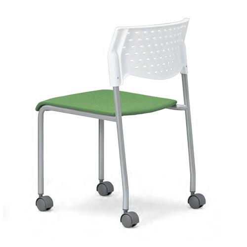 会議用チェア4脚セット パイプ椅子 粉体塗装脚 肘掛なし 【個人宅不可】 MC-221WG