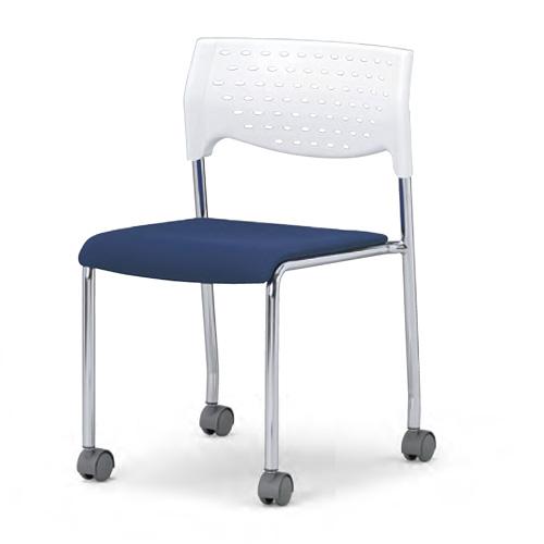 会議用チェア4脚セット 【キャスター付き】パイプ椅子 クロームメッキ脚 肘掛なし 【個人宅不可】 MC-231WG