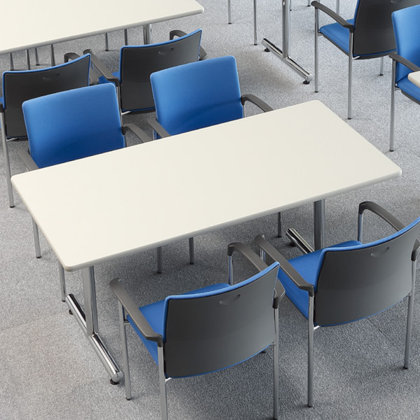 会議用テーブル 幅1500×奥行750 角形 クロームメッキ仕上脚 AICO(アイコ) 【個人宅不可】MT-1575K