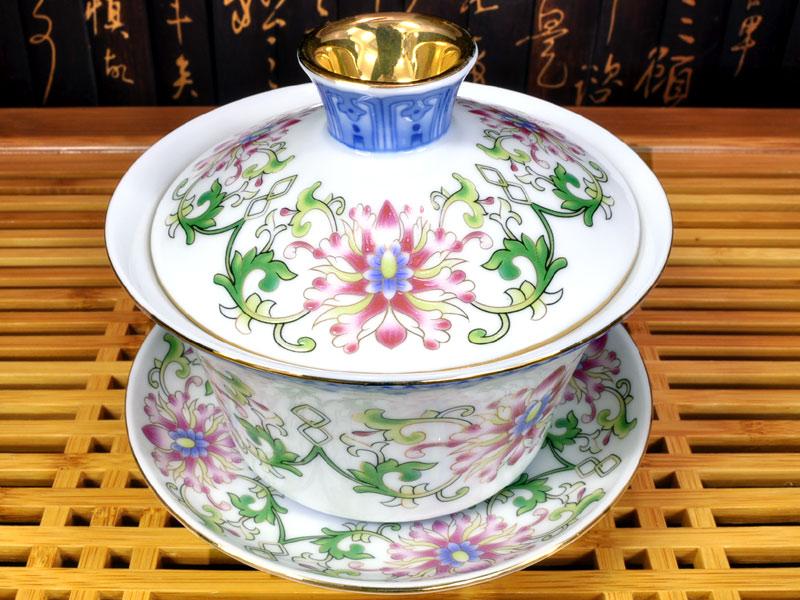 蓋碗(蓋付き湯のみ)八花宮廷青花