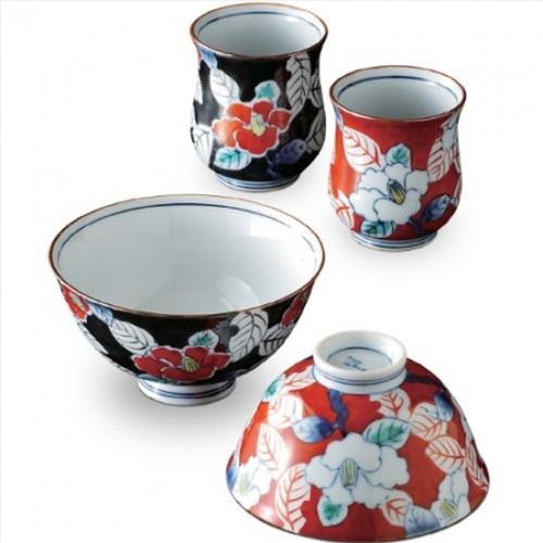 茶碗 湯のみ : 有田焼 総手描き 色彩山茶花 睦 セット(茶碗2客 湯呑み2客セット)