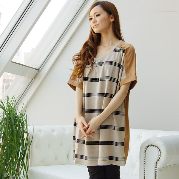 Made in Japan nostalgic horizontal stripe tunic dress (Z52628) ★ shipment ※Returned goods, exchange is impossible