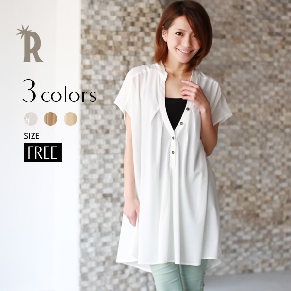 producedbyE & c daily beauty ☆ thick tacktunic blouse (D2051) shipping