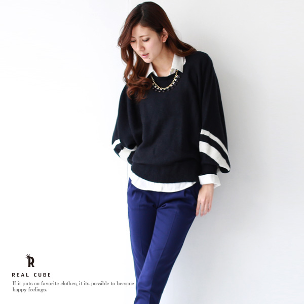 * REAL CUBE ラインデザインアルパカドルマン knit (M31121110) * special price for the returns and cannot be exchanged.