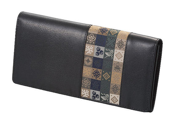 石畳緞子 19×9.5×2cm ブラック美術工芸織物■ 日本古来の伝統絹織物をあしらったの牛革使用ロングウォレット