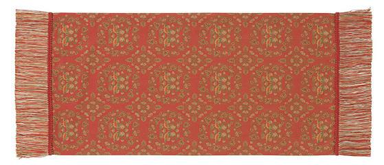 天平鴛鴦唐草文錦 42×87cm レッド美術工芸織物■ 高度な西陣織の技術で古今東西の優れた文様を仕上げた絹のテーブルセンター※桐箱入