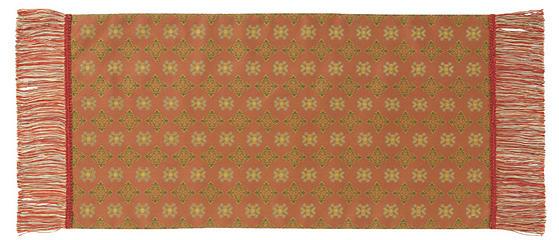 赤地花文錦 42×80cm レッド美術工芸織物■ 高度な西陣織の技術で古今東西の優れた文様を仕上げた絹のテーブルセンター※桐箱入