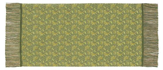 ペルシャ狩猟文錦 42×82cm グリーン美術工芸織物■ 高度な西陣織の技術で古今東西の優れた文様を仕上げた絹のテーブルセンター※桐箱入