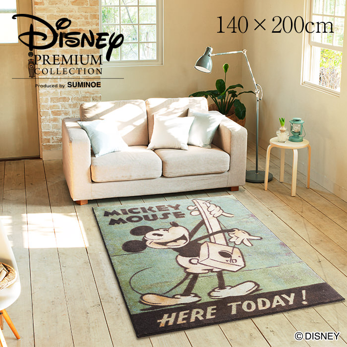 MICKEY/ミッキー ミュージック ラグ DRM-1034 140×200cm ディズニーDisney◆ミッキーが楽しく楽器を演奏するポスターをデザイン ビンテージ感溢れる スミノエ| リビング 子供部屋 マット カーペット ラグマットラグマット かわいい おしゃれ[P] グリーン 緑 Disneyzone