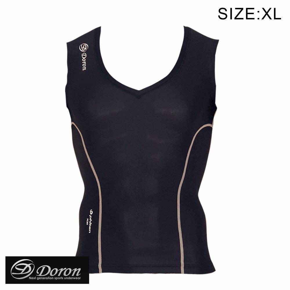 DORON・ドロン Vネックシャツ ブラック XL (MENS) スポーツアンダーウェア ファイテン チタン配合 日本製生地 リカバリー リハビリ ストレッチ 下着 プレゼント 加圧
