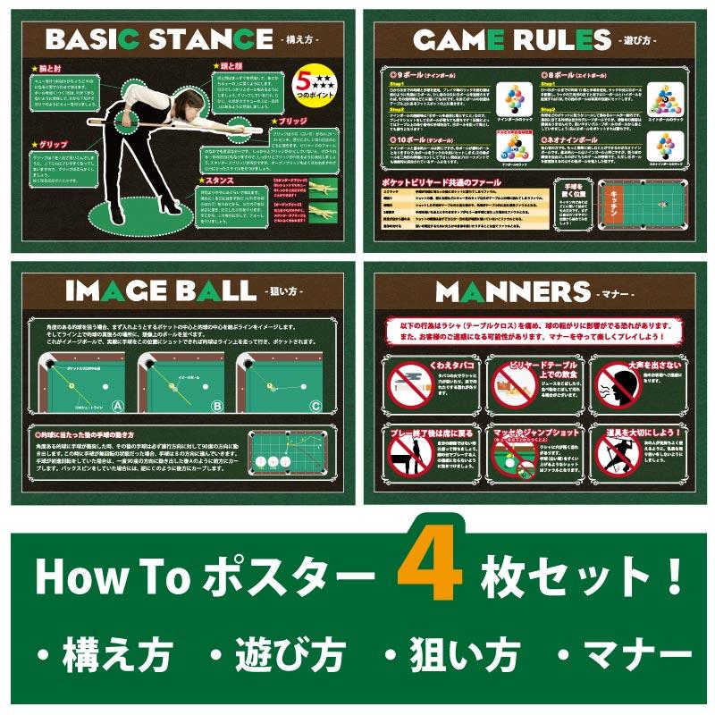 ビリヤード How to ポスターセット 全4枚セット 515×728 B2サイズ ついに再販開始 専門店
