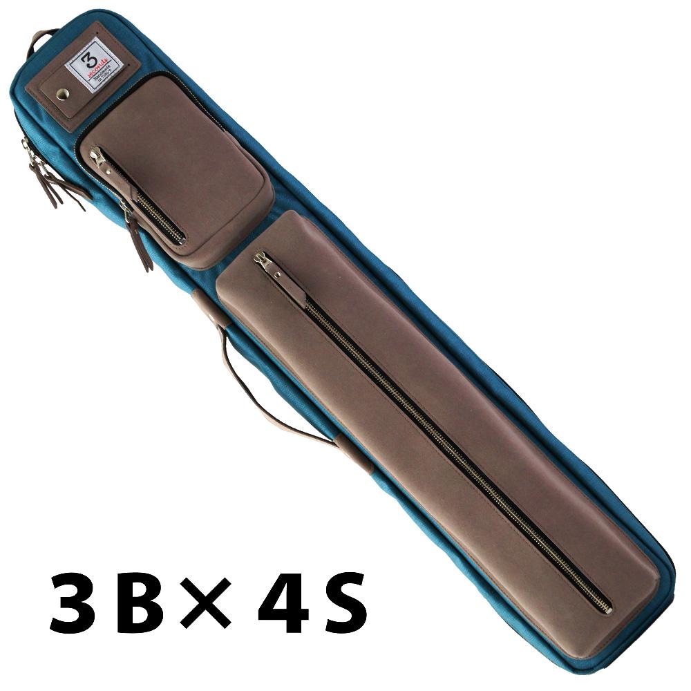 ビリヤード キューケース 送料無料 3 Seconds スリーセカンズ ケース スティールブルー 3B4S (バット3本シャフト4本収納)