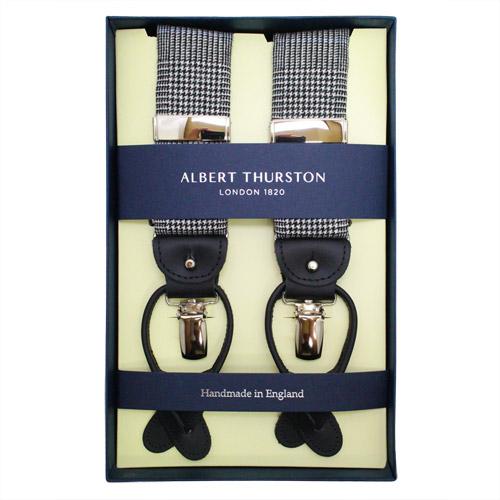 ALBERT THURSTON アルバートサーストン サスペンダー 千鳥格子 ホワイト ブラックメンズアクセサリーの通販ギフト プレゼント お祝い 結婚式 ビジネス 新生活 父の日 彼氏 夫 バレンタイン