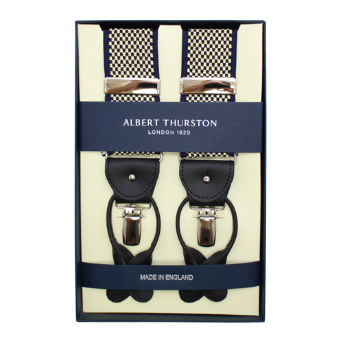 ALBERT THURSTON アルバートサーストン サスペンダー ネイビー ゴールド チェック柄メンズアクセサリーの通販ギフト プレゼント お祝い 結婚式 ビジネス 新生活 父の日 彼氏 夫 バレンタイン