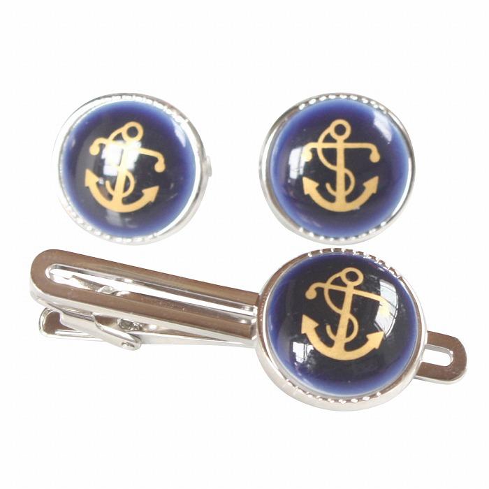 Swank & Royal Copenhagen スワンク & ロイヤルコペンハーゲン ブルーゴールドアンカーカフスボタン・ネクタイピンセット メンズ rcsw009010