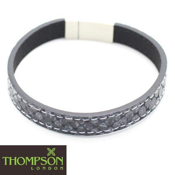 Thompson London ステンレス ステッチ 牛革グレーのブレスレット 誕生日 贈り物 誕生日 プレゼント おしゃれ カフスマニア