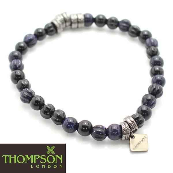 Thompson London ガンメタル オニキス ブルーゴールドストーンの天然石ブレスレット 誕生日 贈り物 ゴールド 誕生日 プレゼント おしゃれ カフスマニア